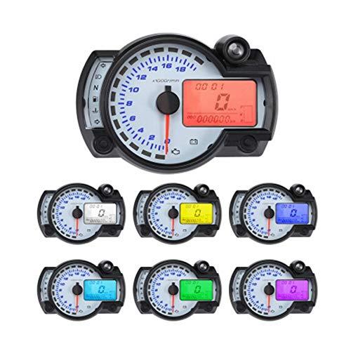 18000 metros del velocímetro de motocicleta Tacómetro digital MPH velocímetro con indicadores LED 7 colores Pantalla de combustible Nivel de combustible Señal de giro Señal de encanto diseño todo en u
