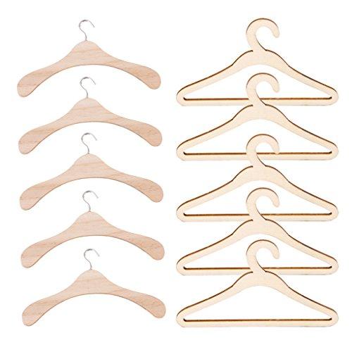 Baoblaze 10er / Set Mini Holz Kleiderbügel Garderobenbügel Für 1/3 BJD SD17 SD13 Uncle Puppen Zubehör - Natürliche Holzfarb
