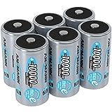 ANSMANN Akku D Mono Typ 10000mAh 1,2V NiMH 6 Stück für Geräte mit hohem Stromverbrauch - Wiederaufladbare Batterien maxE - Akkus für Spielzeug, Taschenlampe, Modellbau uvm - Rechargeable...