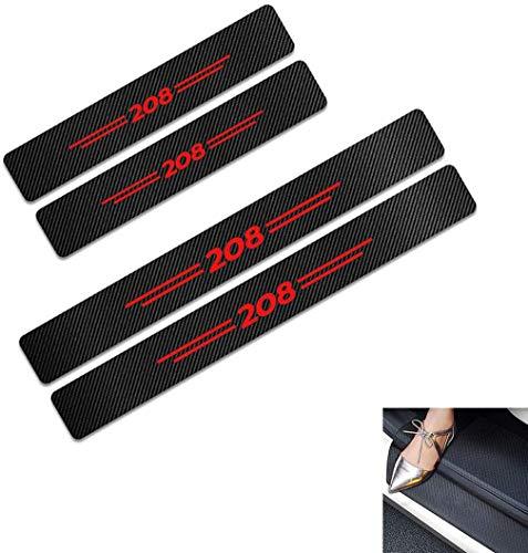 Baozengry 4 Piezas De Placas De ProteccióN para El AlféIzar De La Puerta De Fibra De Carbono para AutomóVil, ProteccióN De Moldura De Pegatina AntiarañAzos para Pedal De Umbral, para Peugeot 208