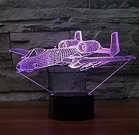 戦闘機LED3Dナイトライトカラフルなテーブルランプマルチカラーミリタリージェット機航空機(USB付き)