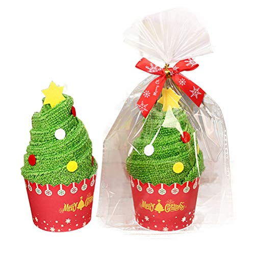 Cupcake Christmas Towels, Tea Towels Cup Cakes Creative 3D Embroidery Towel, Xmas Decorations Party Favors Gifts Kids, Best Home & Kitchen Gift, 30x30cm