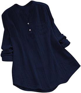 Hauts Tuniques /à Manches Longues pour Femmes Col en V Imprim/é Pull Coton Lin Chemisier D/éContract/é Swing Chemise pour Leggings