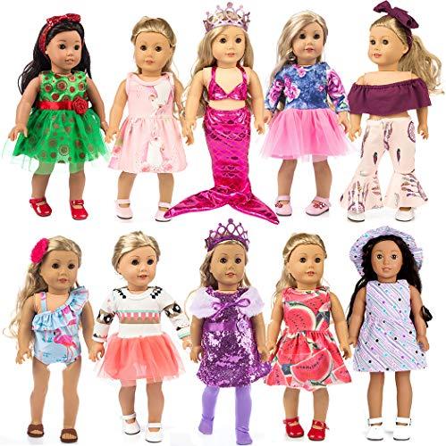 ebuddy 10-Sets Fashion Doll Kleidung und Accessoires mit Beliebte Elemente Horn Style, Unicon, Flamingo, Meerjungfrau, Prinzessin Kleid für 18 Zoll Amerikanische Mädchenpuppe, Unsere Generation Puppe
