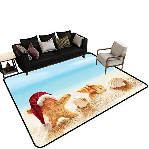 MsShe Zwembad anti-slip tapijt Kerstman, Kerstrit op een Sleigh Cartoon Herten met Jingle Bells Wintertijd, Karamel Rood Lichtblauw