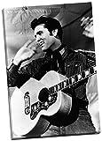 Elvis Presley-Portrait schwarz weiß, Kunstdruck auf