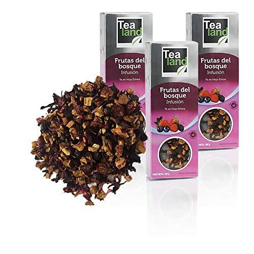 Tealand | infusion frutos del bosque, Hojas Sueltas | Pack de infusiones a granel | 3 x 100 gr