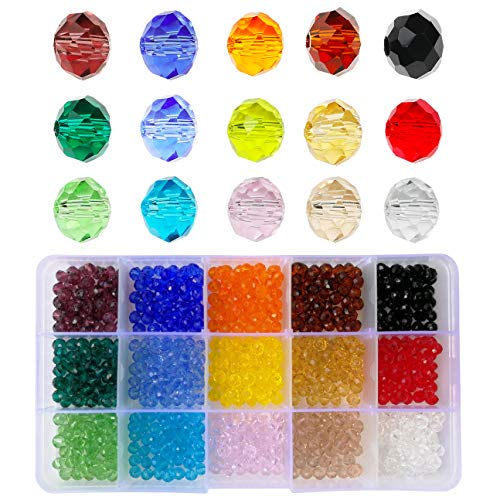 6mm Briolette Glass Beads Faceted Rondelle Crystal Beads, DIY Craft Beads for Bracelet Assorted 15 Colors with Container Box (Total 750pcs)