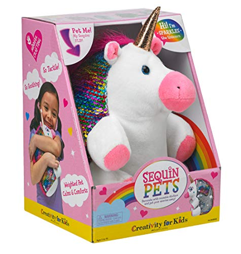Creativity for Kids Sequin Pets Stuffed Animal - Sparkles The Unicorn Plush Toy