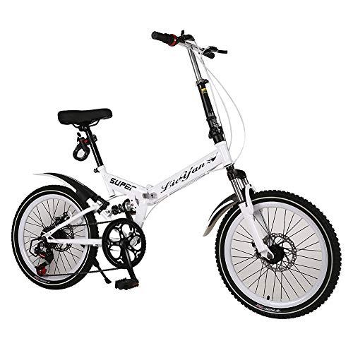 ANAN 20 inch vouwfiets, lichtgewicht fiets met 6 versnellingen en dubbele vering, wit