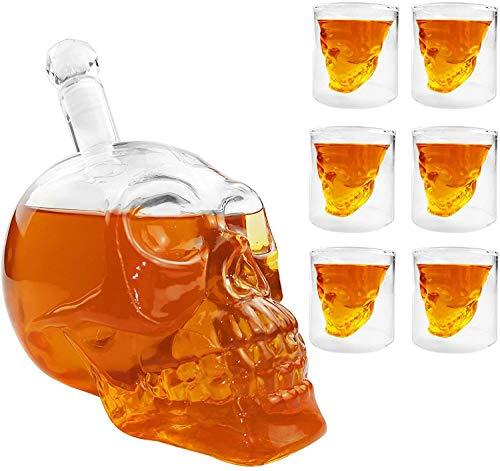 CASATX Conjunto de Gafas de Tiro de cráneo, Whisky glass1000ml y 6 Gafas de Vino de cráneo 75ml de Cristal de Cristal Gafas