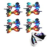 4 Pairs LED Light Up Shoelaces with Multicolor Flashing for Night Party Hip-hop Dancing Shoe Laces Waterproof