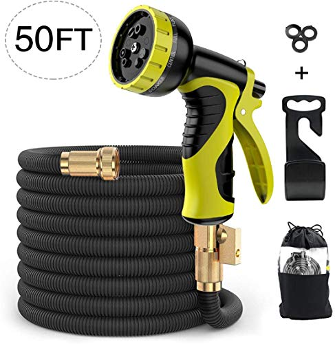 Alittle Expandable Garden Hose Pipe 50 Feet, Flexible Water Hoses Hosepipe with 9 Function Spray Nozzle, No-Kink/ 2500Dx2500D/ Solid Metal Connector/Hanging Hook/Storage Bag, Black