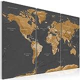 murando - Cuadro en Lienzo Mapamundi 120x80 cm Impresión de 3 Piezas Material Tejido no Tejido Impresión Artística Imagen Gráfica Decoracion de Pared - Geografia Mapa del Mundo k-A-0104-b-g