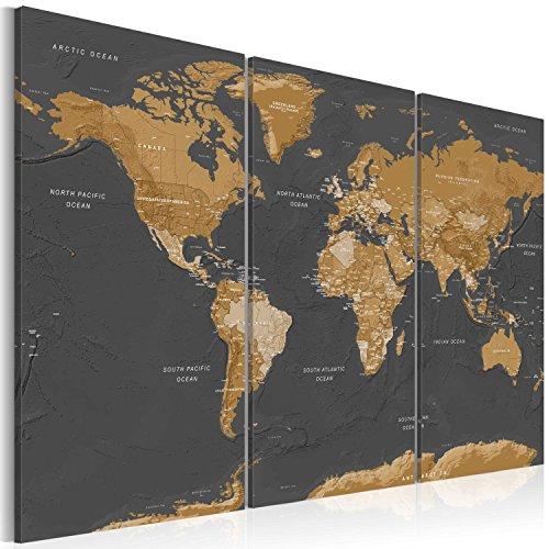 murando - Cuadro en Lienzo 120x80 cm Mapamundi - Impresión de 3 Piezas Material Tejido no Tejido Impresión Artística Imagen Gráfica Decoracion de Pared - Mapa del Mundi k-A-0104-b-g