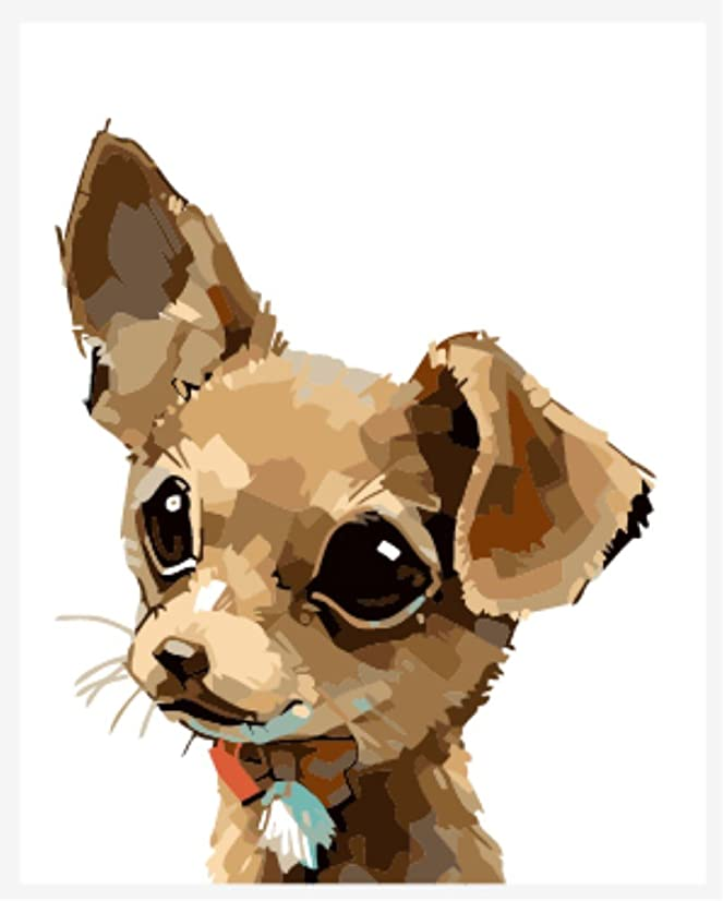 Wowdecor Paint by Numbers Kits for Adults Kids, Number Painting - Cute Puppy Cute Dog 16x20 inch (Frameless)