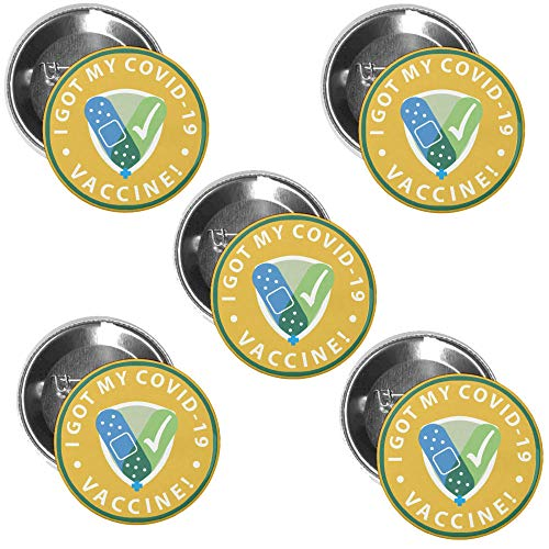 Coronavirus Vaccination Shot Button Badge–Covid-19 Vaccine Recipient Notification Public Health Pinback Button Badges –1.75 Inch Round