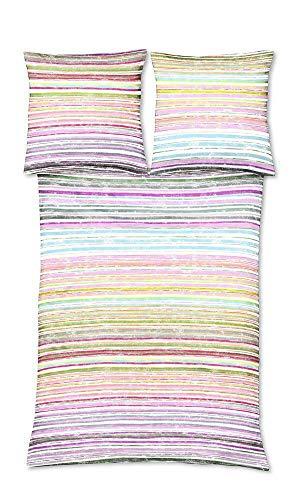 Fleuresse 113974-4 Parure de lit en Satin de Coton mako Rayures Roses Jaunes Vert 155 x 220 cm