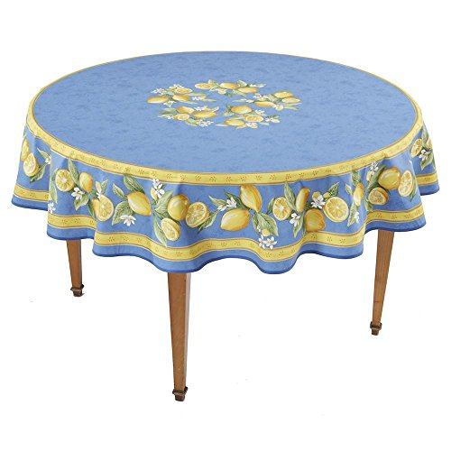 Occitan Imports Citrons Bleu Round French Tablecloth, Coated Cotton, 71 in Diameter