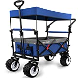 BEAU JARDIN Folding Push Wagon Cart with Canopy Collapsible Utility Camping Grocery Canvas Fabric Sturdy Portable Rolling Lightweight Buggies Outdoor Garden Sport Heavy Duty Shopping Wide Wheel Blue