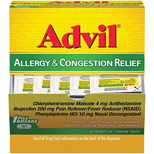 Advil allergy & Congestion Relief (50Count Packets), Antihistamine, 200mg Ibuprofen Pain Reliever/Fever reducer & Nasal Decongestant, One Tablet Dose