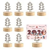Picowe 12 Packs Christmas Wood Place Card Holders with Christmas Tree Wire and 20Pcs Kraft Place Cards, Wooden Table Memo Photo Picture Number Sign Stands Holder for Party Wedding Table Decoration