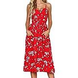 MRULIC Damen V Ausschnitt Spaghetti Buegel Blumen Sommerkleid Elegant Vintage Cocktailkleid Kleider (EU 46/CN 2XL, Rot)