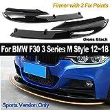 2 Piezas Cubierta de Parachoques Frontal Lip Car Styling ABS Bumper Solo para versión Deportiva para BMW F30 3 Series M Style 2012-2018 Gloss Black