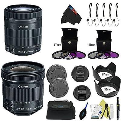 Canon EF-S 10-18mm f/4.5-5.6 is STM Lens + Canon EF-S 55-250mm f/4-5.6 is STM Lens + Pixi-Lens Advanced Combo Bag by Pixibytes
