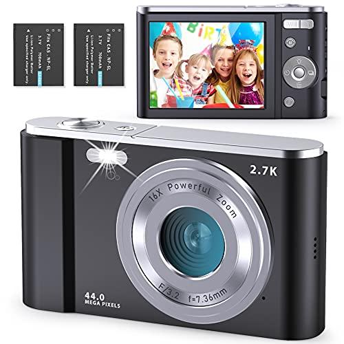 Compactas Cámaras Digitales FamBrow Camara de Fotos 2.7K 2.88 Pulgadas 44 megapíxeles con Zoom 16X Recargable UHD Cámara Digital para Estudiantes Adultos Mayores niños - Negro