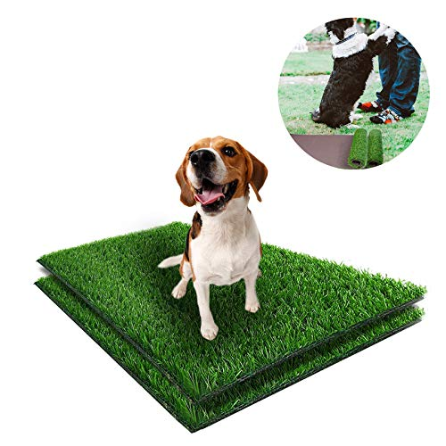 Earth Friendly 2 Pcs Artificial Grass Dog Pee Pad Reusable Fake Grass Mat Rug Turf Puppy Potty Pad Replacement Washable Dog Training Pad Leak-Proof Pet Urine Pad for Indoor and Outdoor(30
