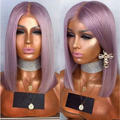 Party Queen Top Quality Light Purple Lace Front Wigs with Baby Hair Affordable Wigs Synthetic Hair Short Bob Wigs with Middle Part Purple Color Bob Straight Hair Wig for Women
