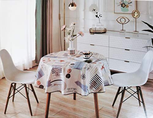 Mantel Redondo Hule PVC - Impermeable - Uso Interior y Exterior - Original 100% - Motivo Estrella Mar, Nudos Marineros Rosa de los Vientos - Antideslizante - Borde Ribeteado (160_x_160_cm)