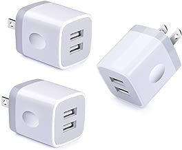 Dual Port USB Wall Charger, NINIBER 3-Pack Charging Block Cube Box Brick Plug Compatible iPhone Xs Max XR 8 X 7 6 4 6S Plus 5 SE 5C iPad iPod Samsung Galaxy S8 Note 8 9 LG V30 V20 G6 G5 Stylo 4 Plus