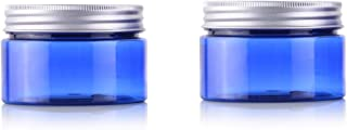 2PCS 100ML 3.4OZ Blue Empty Plastic Cream Bottles with Screw Aluminum Cap and Inner Cover Face Hand Cream Storage Holder Makeup Case Refillable Portable Cosmetic Container Jar for Travel Daily Life