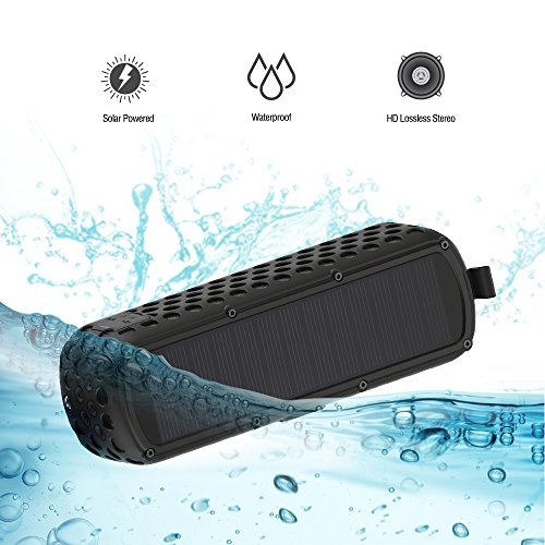 Lanmey Solar-powered Portable Wireless Bluetooth Speaker, Unbreakable Shockproof Waterproof Silicone case for Outdoor Activity with 30 Hour Playtime, Built-in Microphone