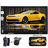 Camecho Car Radio Double Din Android Car Stereo with Bluetooth 7 Inch 1080P Car Multimedia Player Support Car GPS Navigation/WiFi/Mirror Link/USB/SD/AM/FM Radio+Backup Camera & Steering Wheel Control