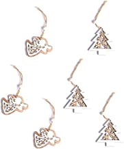 6 Pcs Wooden Hollow Double Layer Ornaments Hanging Decor Christmas Tree Decoration Xmas Baubles
