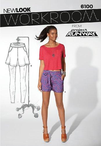 New look 6100 Maat A 8/10/12/14/16/18 Misses Shorts Workroom van Project Runway naaipatroon, Multi-Colour