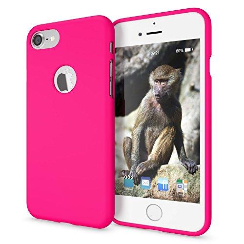 NALIA Cover Neon compatibile con iPhone 7, Custodia Protezione Ultra-Slim Neon Case Protettiva Morbido Cellulare in Silicone Gel, Gomma Telefono Smartphone Bumper Sottile, Colore:Pink