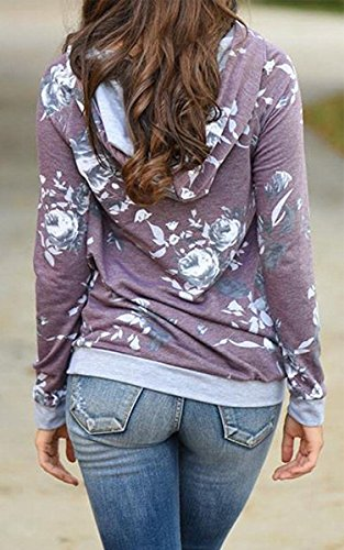 Angashion Women Hoodies-Tops- Floral Printed Long Sleeve Pocket Drawstring Sweatshirt With Pocket,Purple,US 8/Tag L
