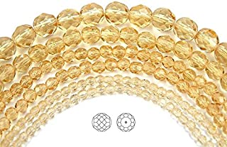 8mm (153 beads) Light Colorado Topaz, Czech Fire Polished Round Faceted Glass Beads, 3x16 inch strand