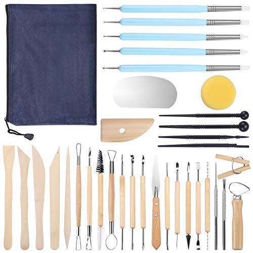 juehu 34 Stücke Töpferwerkzeug Set Modellierwerkzeug Sculpting Werkzeug Clay Werkzeug doppelseitige Ton-Werkzeuge für töpferwerkzeug Kinder Profi,Clay Keramik Sculpting für Ton, Keramik Kunsthandwerk