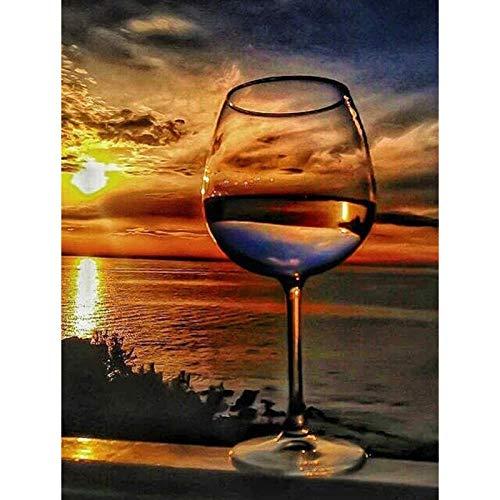 5DDiamondPainting Copa de vino Sunset Lake 5D Kit de pintura de diamante,Bordado de punto de cruz de diamantes de imitación Artesanía30x40 cm(Sin marco)