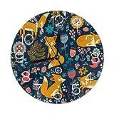 Mailine Reloj de Pared Redondo Fox Floral Reloj de Pared Redondo Silencioso Sin tictac Reloj con Pilas Arte Decorativo