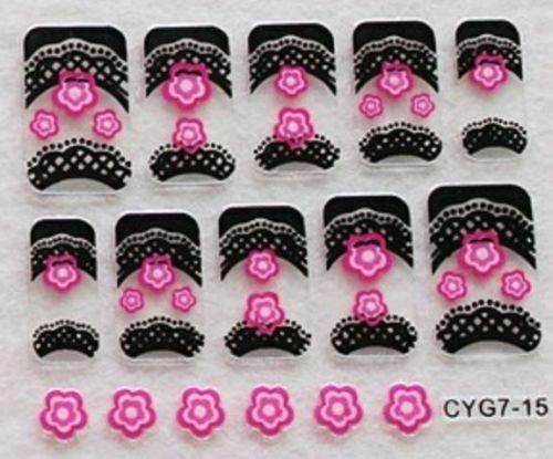 CLUB MODE Nail Art 10 Stickers Autocollants pour Ongles Scrapbooking Fleurs Roses Bordures Noires Design