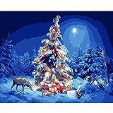 Pintura por números para adultos niños, pintura al óleo para manualidades, kits de pinceles, pintura para decoración de la pared del hogar 2586 árbol de Navidad y alce