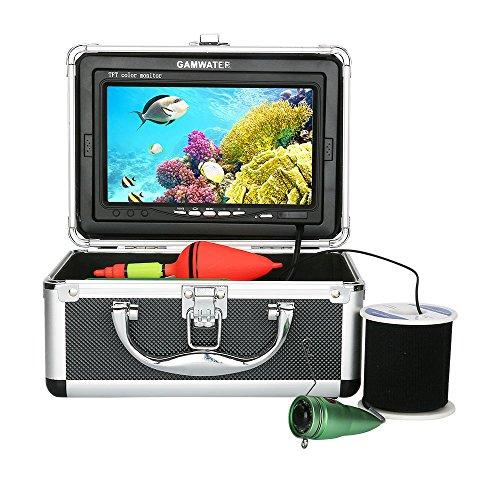 XINTONGSPP Buscador de Peces submarinos, HD 7 Inch1000TVL Kit de cámara de Video de Pesca bajo el Agua 6 PCS Luces de lámpara infrarroja con Monitor de Color,15m