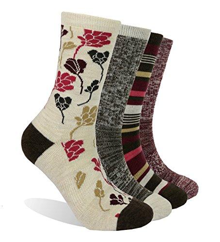 EnerWear 4 Pack Women's Merino Wool Outdoor Hiking Trail Crew Sock (US Shoe Size 4-10, Wine/Brown/Multi)