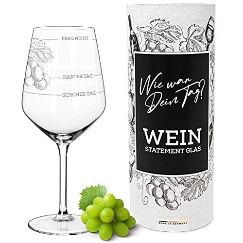 Weinglas XL   Guter Tag, Schlechter Tag, Frag nicht (530ml)   Wie war Dein Tag? in Geschenkbox   Lustiges Geschenk für Frauen & Männer   Geburtstagsgeschenk   Weißweingläser Rotweingläser
